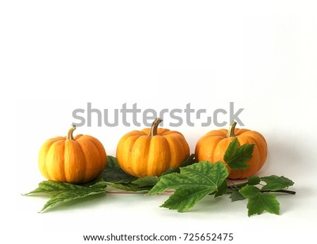 3 mini pumpkins sitting on maple leaves great for fall harvest backdrop.