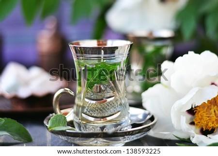 mint tea with   Turkish delight - stock photo