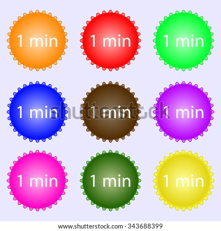1 minutes sign icon. A set of nine different colored labels. illustration