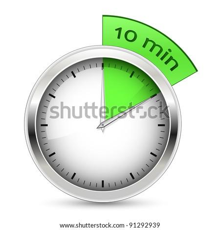 10 minutes. Timer illustration. - stock photo