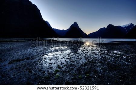 Mitre Peak, New Zealand - stock photo