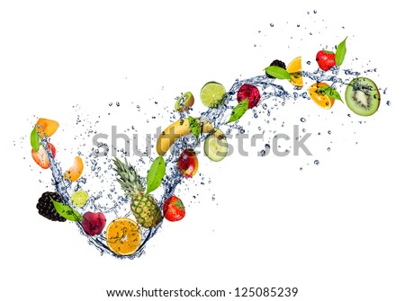 Mix of fruit in water splash, isolated on white background - stock photo