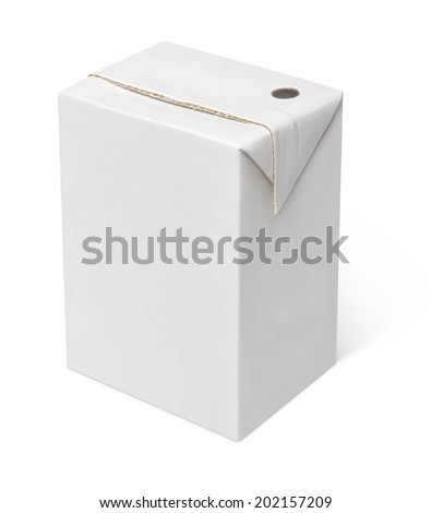 200 ml milk or juice carton package isolated on white with clipping path - stock photo
