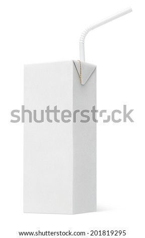 200 ml milk or juice carton package with straw isolated on white - stock photo