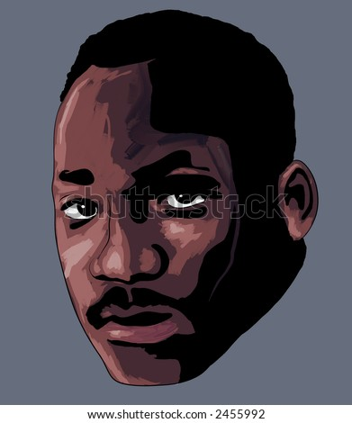 """MLK Face"" a stylized impressionist art portrait of Martin Luther King Jr."
