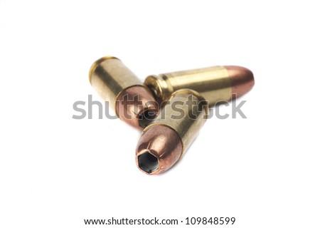 9mm ammunition on white background - stock photo