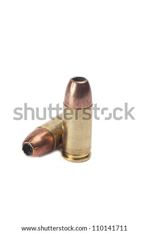 9mm ammunition on white background - stock photo