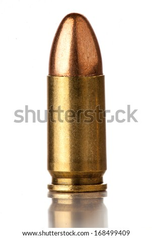 9mm bullet for a gun isolated on a white background - stock photo