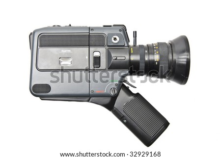 8 mm camera on a white background - stock photo