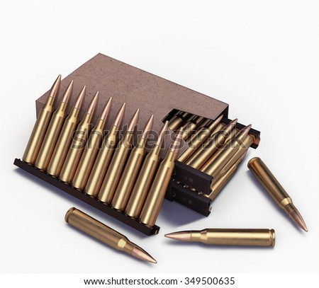 5.56 mm cartridge in the box on an isolated background - stock photo