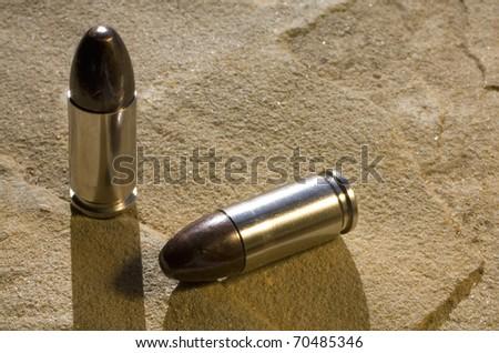 9 mm cartridges designed for pistol use - stock photo