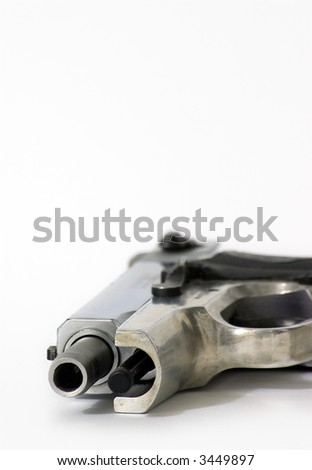 9mm chrome pistol - stock photo