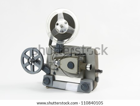 8mm cinema Projector on white - stock photo