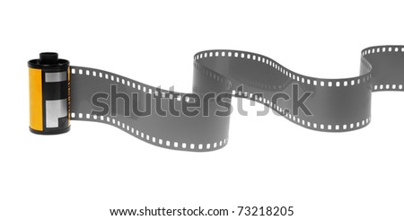 35mm classic negative film roll isolated on white - stock photo