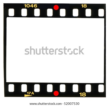 35 mm color slide, picture frame, isolated on white background,