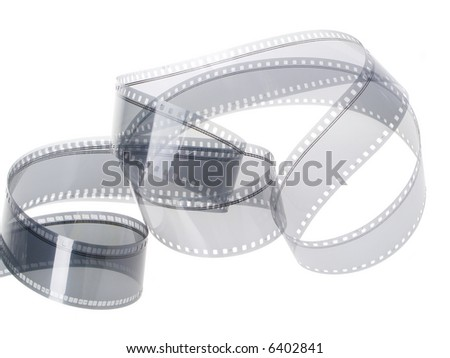 35 mm film audio track isolated in white background - stock photo