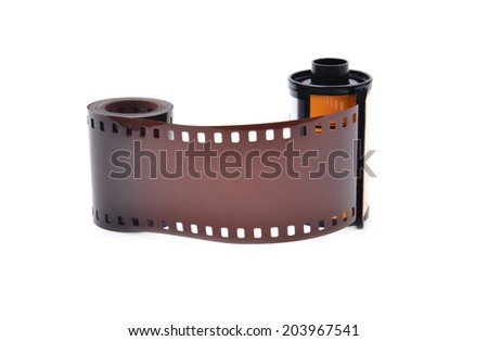 35 mm film cartridge on white background - stock photo
