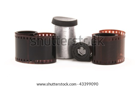 35 mm film negative rolls - stock photo
