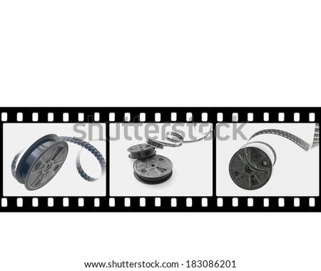 16mm film reel in film strip - stock photo