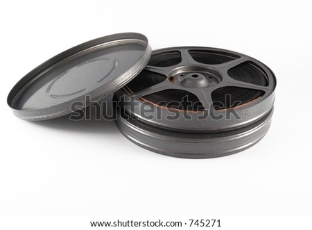 16mm film reels and canisters - stock photo
