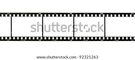 35 mm film strip, isolated on white - stock photo
