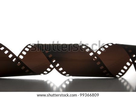35mm film strip on a white background - stock photo