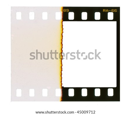 35 mm filmstrip, picture frame,isolated on white background, end of film with overexposure on left side