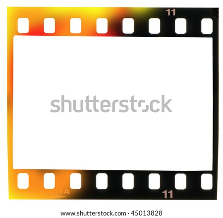 35 mm filmstrip, picture frame,with light incidence, isolated on white background, - stock photo
