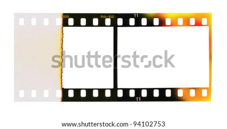 35 mm filmstrip, picture frames, free copy space isolated on white background - stock photo