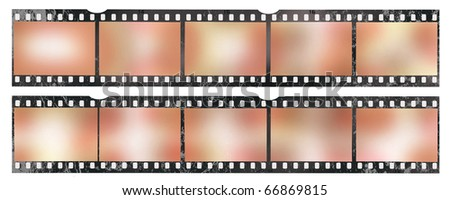 35 mm filmstrip, picture frames, grungy - stock photo