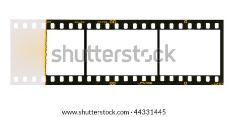 35 mm filmstrip, 3 picture frames,isolated on white background, end of film with overexposure on left side