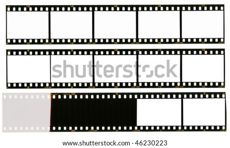 35 mm filmstrip, picture frames, isolated on white background, end of film with overexposure on left side - stock photo