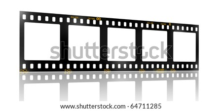 35 mm filmstrip, 5 square blank picture frames, - stock photo