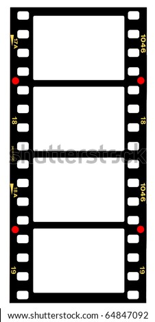 35mm format movie filmstrip,standard film picture frames, large format - stock photo