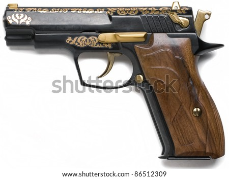 7, 62  mm gold decorated handgun  isolated on white background - stock photo