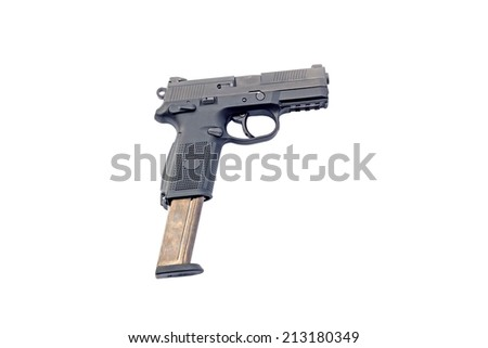 9 mm hand gun isolated on white background  - stock photo