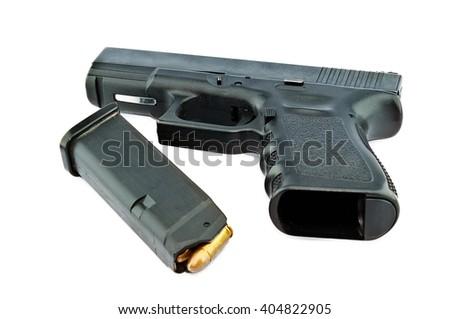 9-mm handgun and target shooting (gun target firearms shoot sights violence) - stock photo