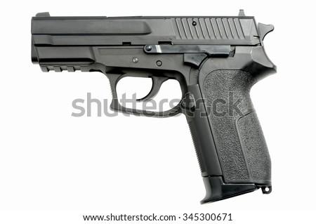 9mm Handgun isolated on white background - stock photo
