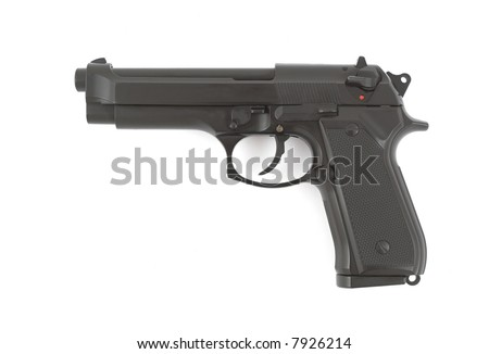 9mm handgun isolated on white background