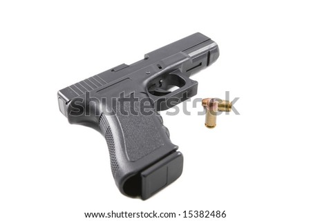 9mm handgun with shell casings on a white background