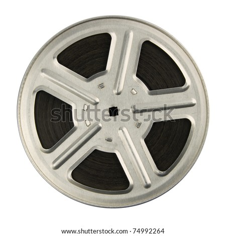 16 mm motion picture film reel, isolated on white background - stock photo