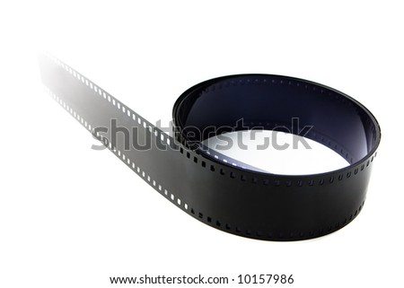 35 mm motion picture film with a perspective isolated on white