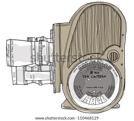 8 mm movie camera - stock photo