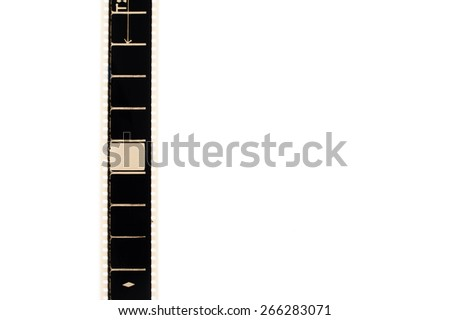 35mm movie film with empty blank frame, vertical and copyspace isolated on white background - stock photo