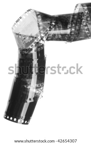 35 mm negative black and white film - stock photo