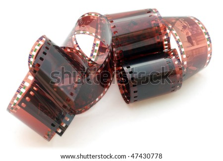 35 mm negative film isolated in white background - stock photo
