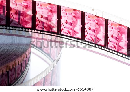 35 mm old film with audio track isolated in white background - stock photo