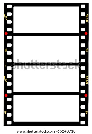 35mm panorama format filmstrip,blank frames - stock photo