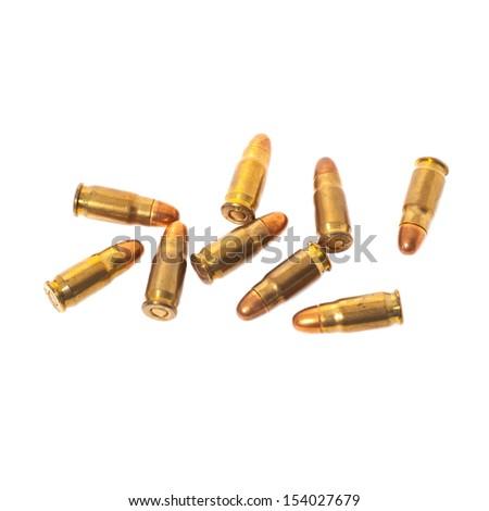 7.65 MM.Parabellum cartridges - stock photo