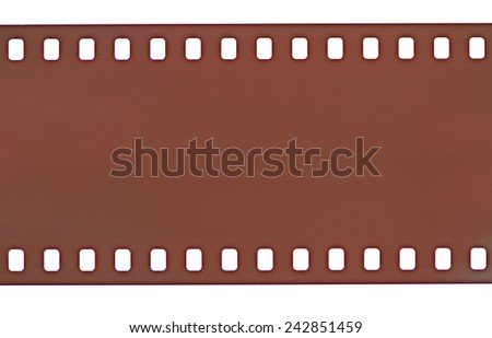 35mm photo film strip on white background. - stock photo